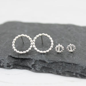 Silver Mini Me Dotty Stud Set - earrings