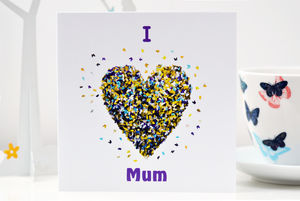 I Love Mum Butterfly Heart Card