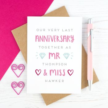 Personalised Last Anniversary As Card