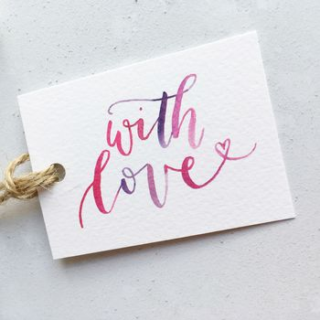 Hand Lettered 'With Love' Gift Tag