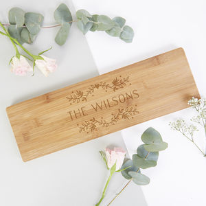 Personalised Floral Wooden Serving Board Gift