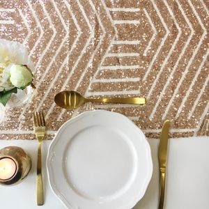Rose Gold Geometric Sequin Table Runner - table runners