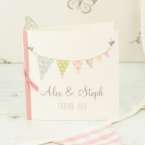10 Personalised Bunting Thank You Cards