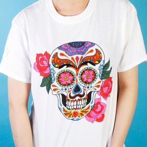 Craneo Y Rosa Colouring In T Shirt