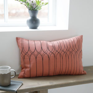 Coral Pink Graphic Print Rectangle Cushion - cushions