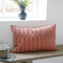 Coral Pink Graphic Print Rectangle Cushion