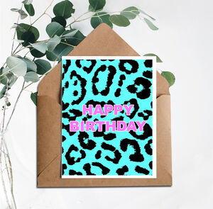 Leopard Print Happy Birthday Card