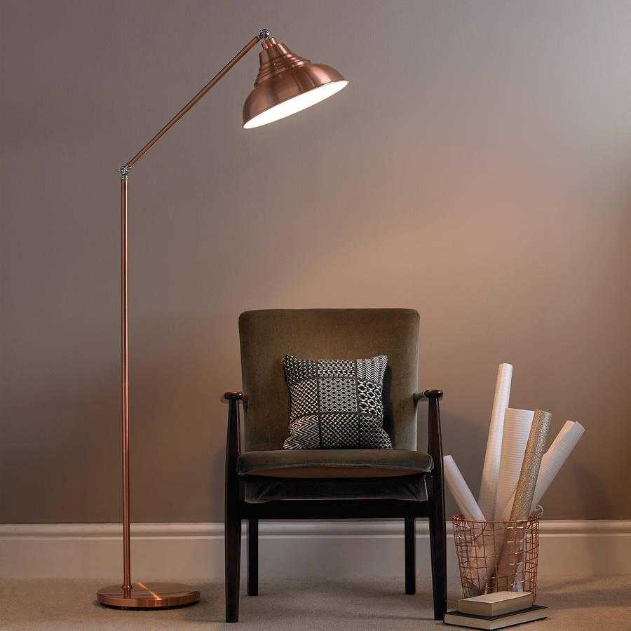 Lamp S: Copper Vintage Metal Floor Lamp By Primrose & Plum