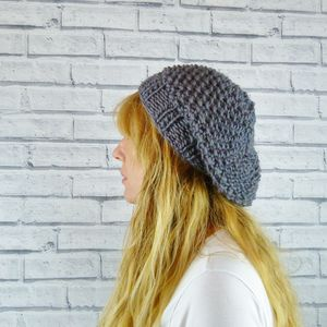 Handknitted Grey Merino Wool Beret - hats & gloves
