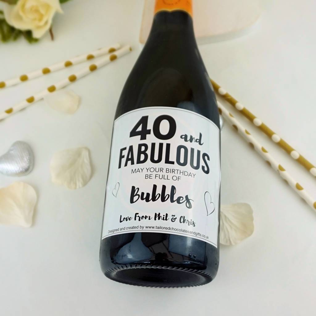 40 And Fabulous Champagne/Prosecco Label
