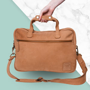Personalised Suede Compact Laptop Satchel
