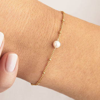 Gold Or Silver Delicate Pearl Satellite Bracelet