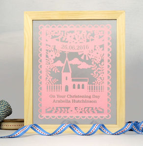 Personalised Christening Papercut