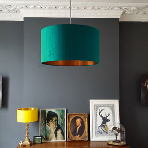 Brushed Copper Or Gold Lampshade In Teal Indian Silk - lighting