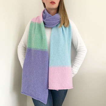 Pastel Colour Block Wrap Scarf