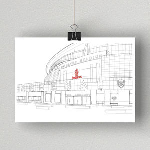 The Emirates Stadium, Arsenal Signed Print - posters & prints