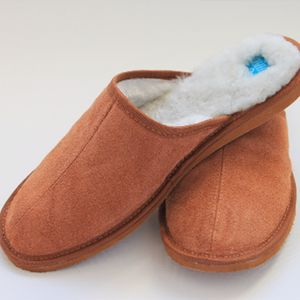 Mens Chestnut Loafer Sheepskin Slippers