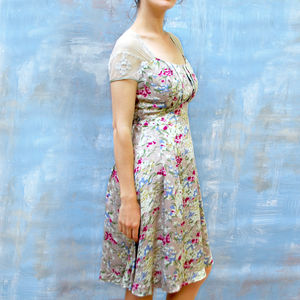Floral Vintage Print Summer Print Tea Dress - sale