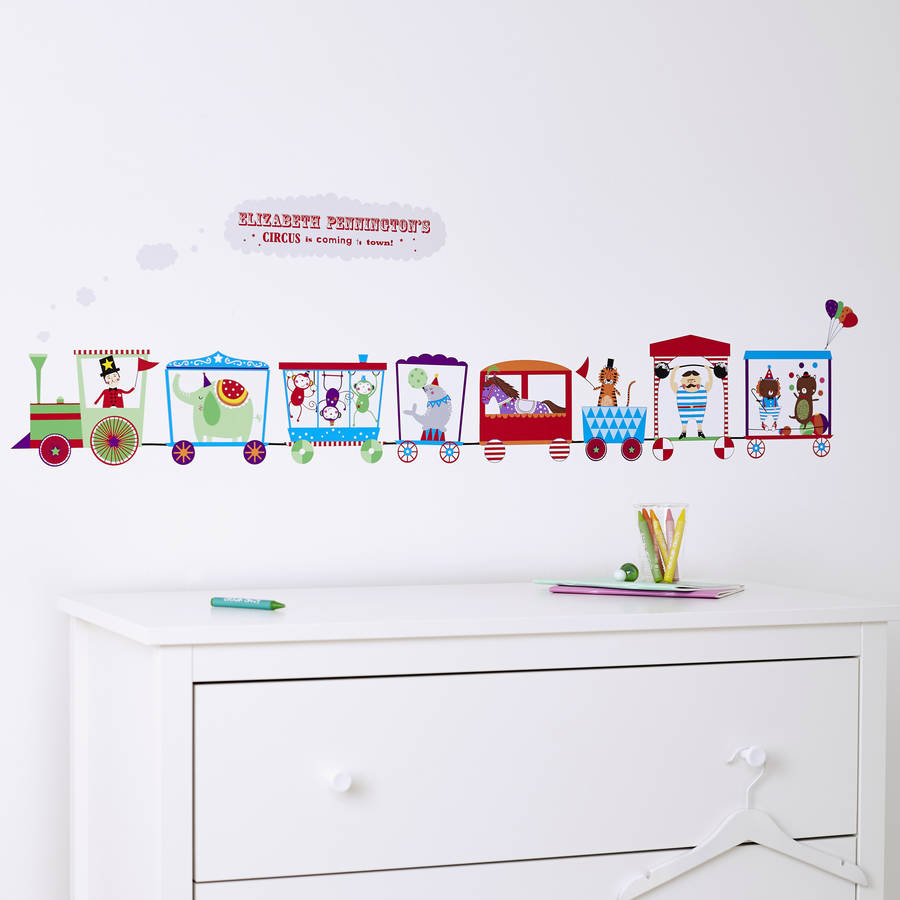 personalised children s circus train wall sticker by children s personalised zoo wall sticker set