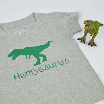 'Dinosaurus' Personalised Dinosaur Name Kid's T Shirt