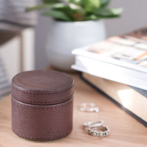 Ladies Leather Ring Box Brown - sale