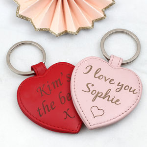 Valentine's Day Personalised Leather Heart Keyring - love tokens