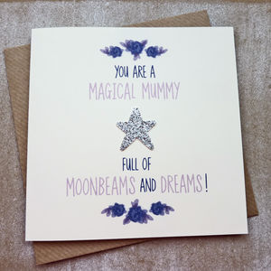 Magical Mummy Silver Glitter Star Birthday Card