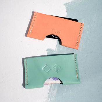 Hand Stitched Personalised Pastel Leather Card Holders