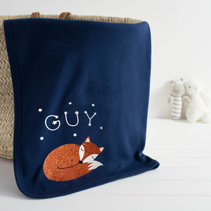 Sleeping Fox Personalised Baby Blanket