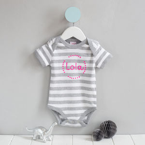 Personalised Stripy Name Babygrow - babygrows