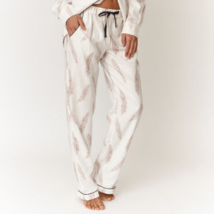 Feather Print Cotton Pyjama Trousers - lingerie & nightwear