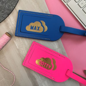Leather Luggage Tag With Metallic Cloud - travel & luggage