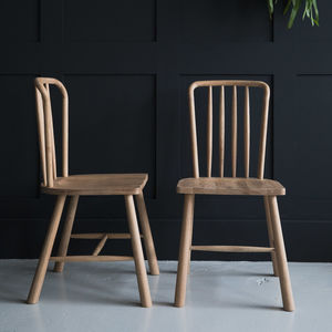Nordic Wooden Dining Chairs Set Of Two