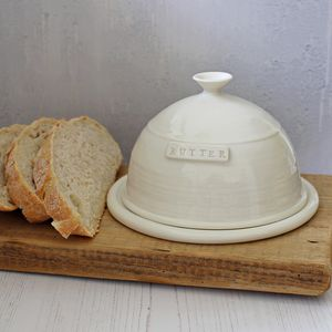Hand Thrown Porcelain Butter Dish - tableware