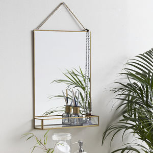 Golden Slim Rectangle Mirror With Glass Shelf - mirrors