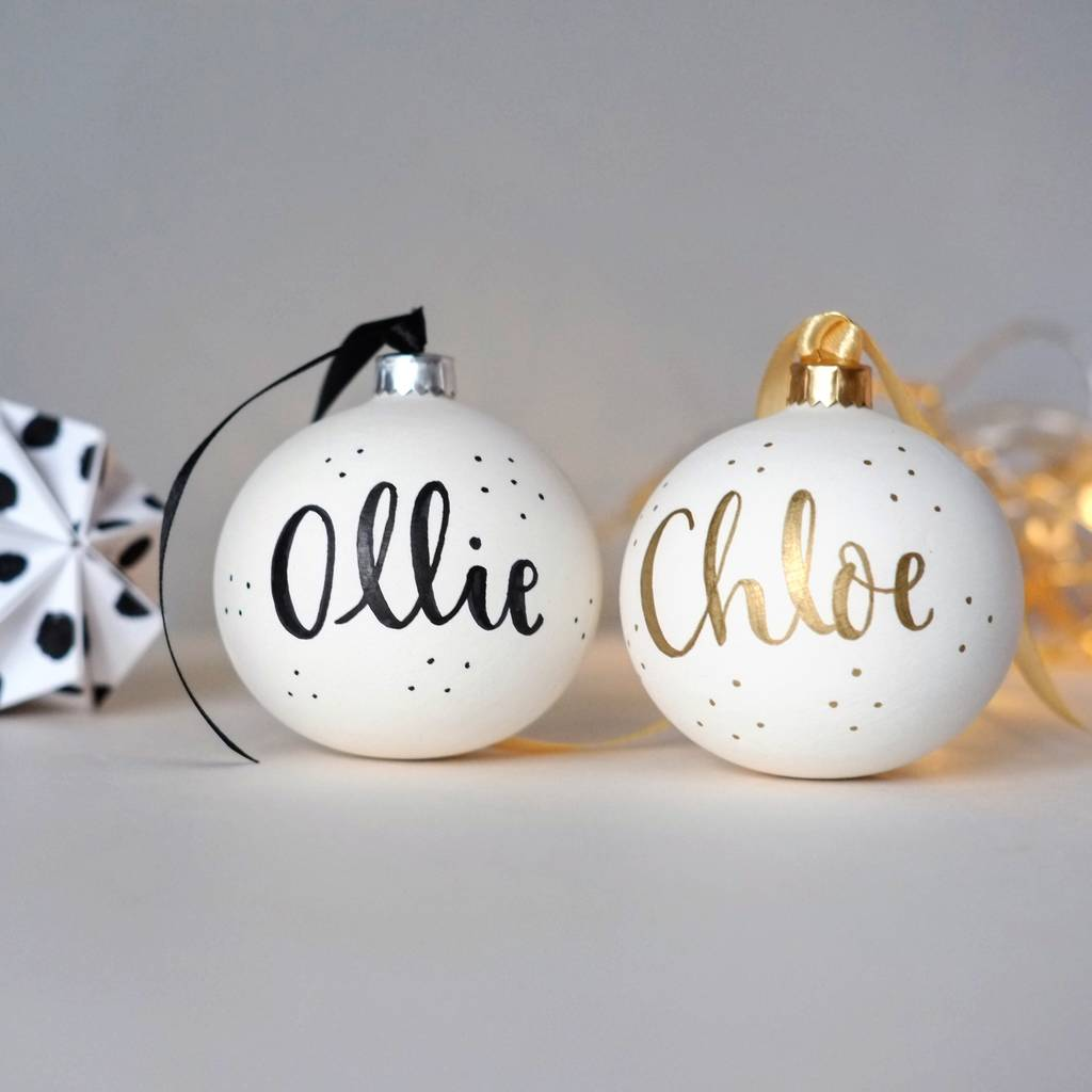 handlettered personalised christmas bauble by blossom and bear ...