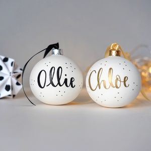 Handlettered Personalised Christmas Bauble