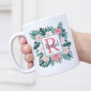 Personalised Tropical Leaves And Hibiscus Initial Mug