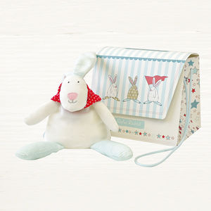 Baby Boy Beanie Rabbit Rattle With Gift Bag