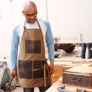 Personalised Waxed Canvas And Leather Work Apron - gifts for him