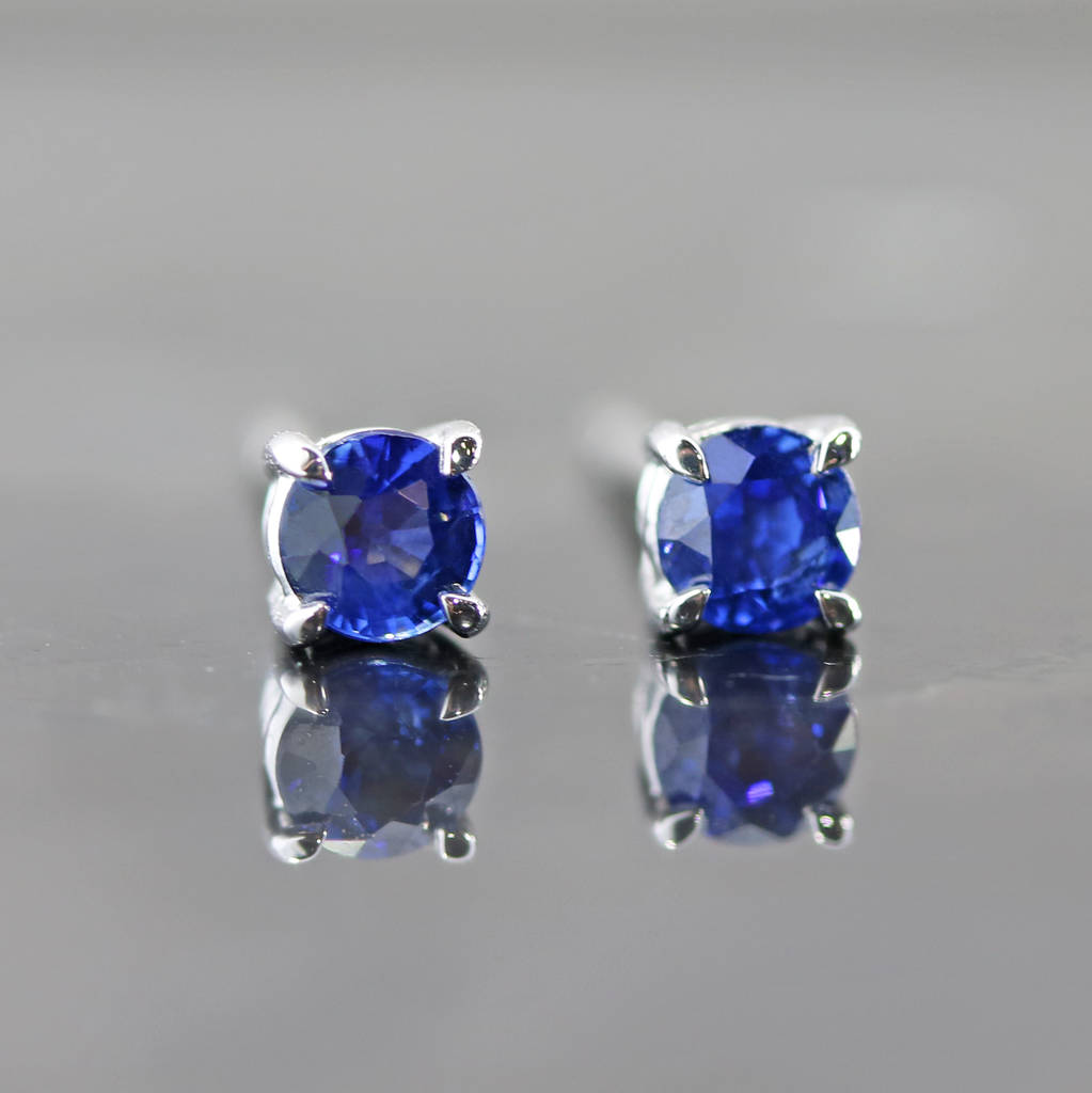 affinityfinejewelry diamond white earring single sapphire blue carat mens gold stud pin