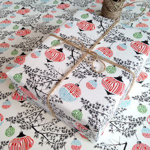 Baubles And Boughs Christmas Wrapping Paper - ribbon & wrap