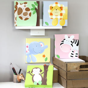 Jungle Pastel Animal Canvas, Hand Painted - paintings