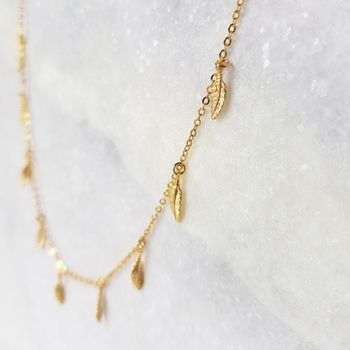 Gold Feather Charm Necklace