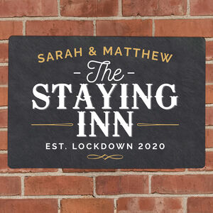Personalised The Staying Inn Metal Sign