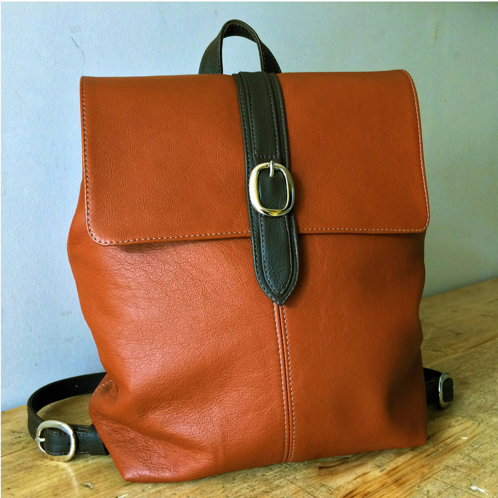 Handcrafted Tan Leather Backpack