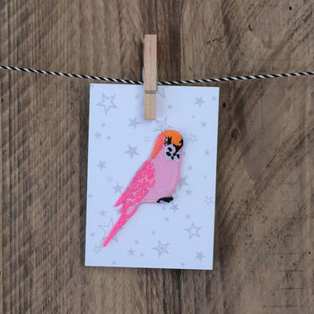 Pink Budgie Iron On Patch