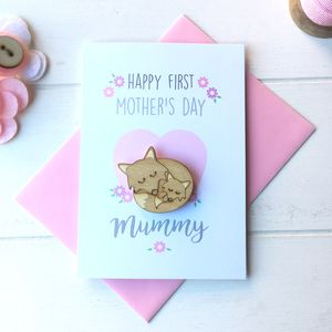 Personalised First Mother's Day Card And Brooch - mother's day cards