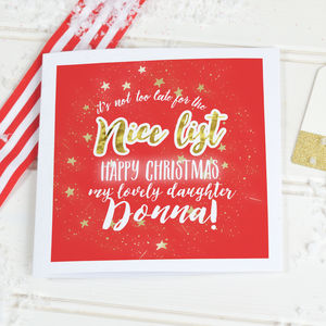 Christmas Card For Teenager Girls 'Nice list' - cards & wrap
