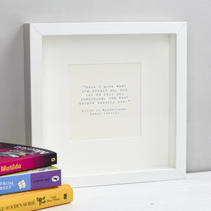 Alice In Wonderland Quotation Print - posters & prints